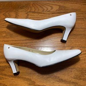 Etienne Aigner Smart White Kitten Heels